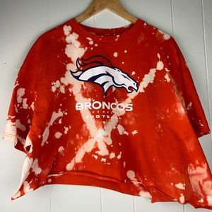 Denver Broncos NFL Upcycled Bleach Dye Cropped Tee